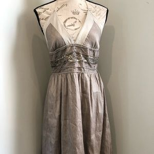 Dresses & Skirts - 100% Silk Grey/ Taupe beaded halter dress!